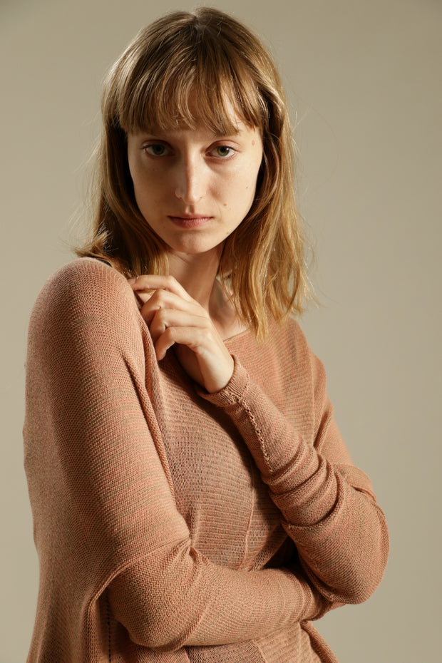 Dusty Salmon Oversize Bamboo knitted shirt with Long Sleeves