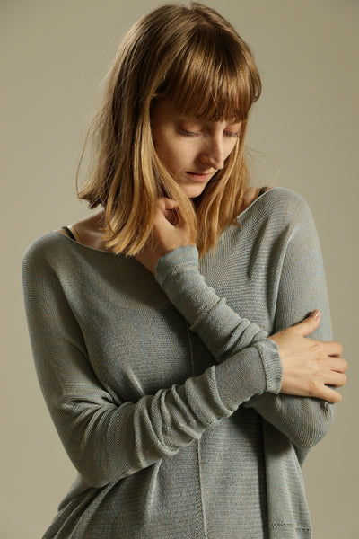 Cloudy Sky, Smokey Blue Oversize Bamboo knitted shirt with Long Sleeves