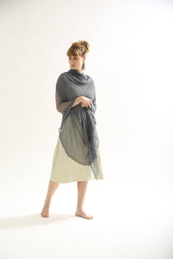 Big Air Bamboo Sheer Scarf - Silver and Navy Blue melange