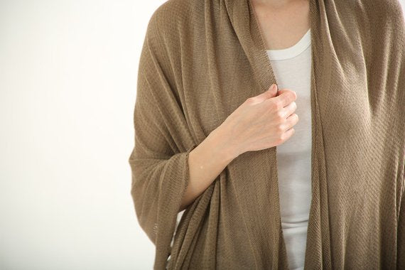 Brown Dark Taupe knitting scarf ,knitted shawl