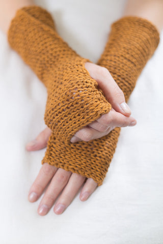 Yellow Mustard Fingerless Soy Mittens