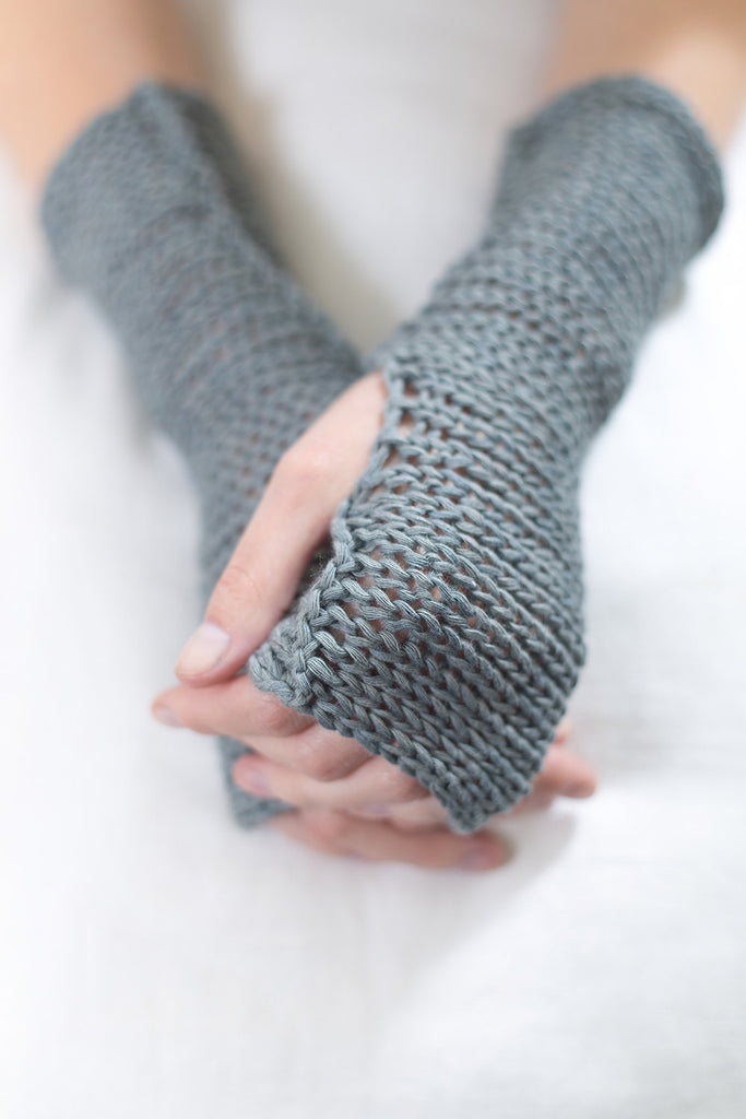 Grey Blue Fingerless Soy Mittens