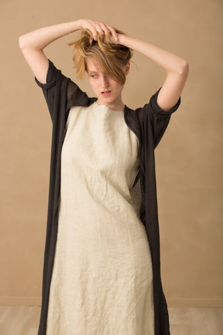 Long Bamboo Cardigan Knitting - Black Charcoal