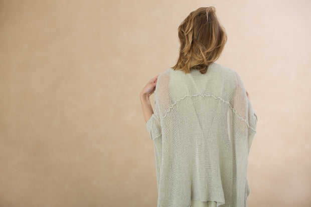 Cotton Oversized Cardigan - Nude