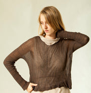Oversize sheer shirt - Brown Soy