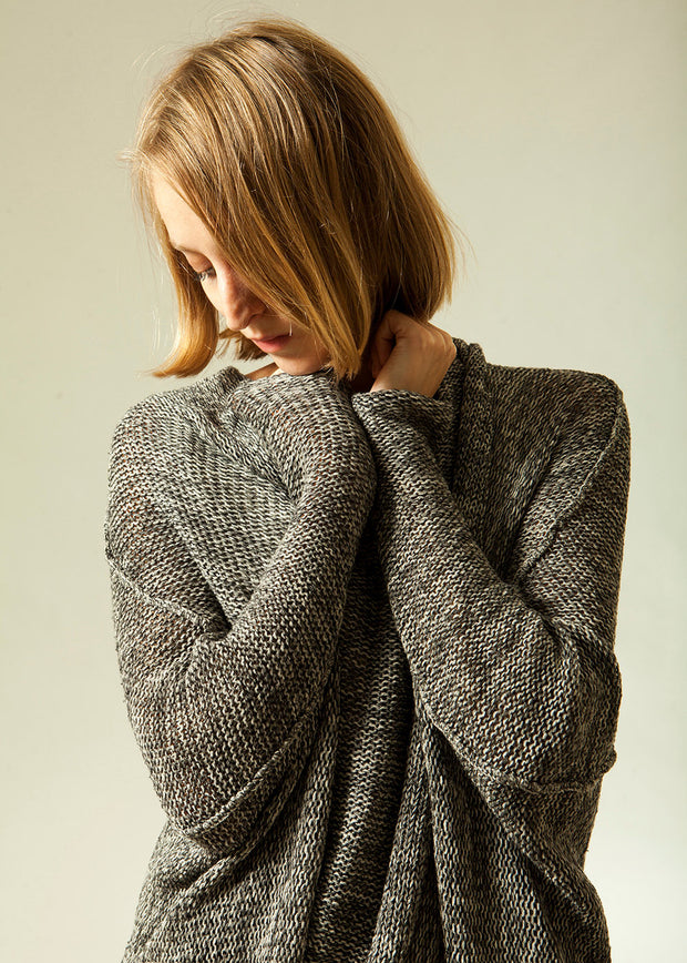 Oversized Gray knit sweater coat