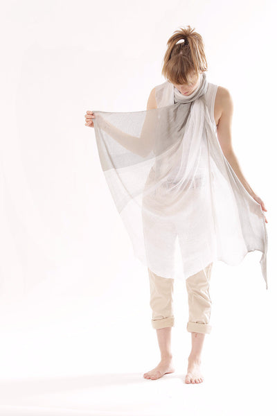 Streto Bamboo Shawl - Gray and White