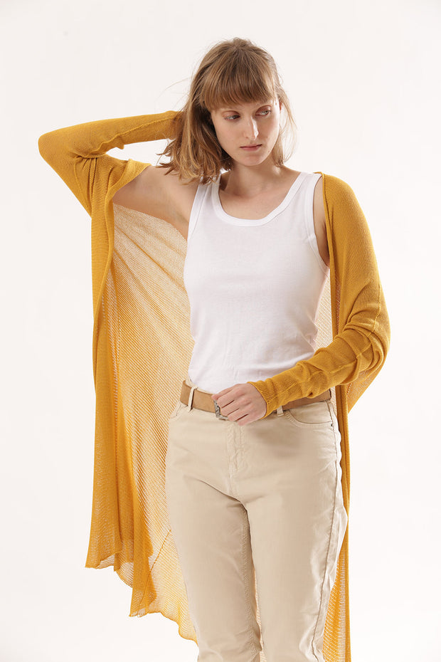 Long Bamboo Cardigan - Yellow curry