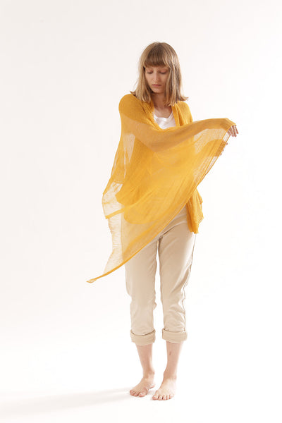Air Bamboo Sheer Scarf -Yellow Curry