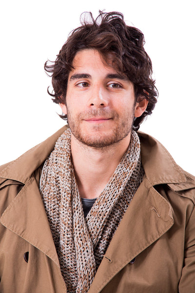 Infinity Chunky Man Scarf - Brown & Gray