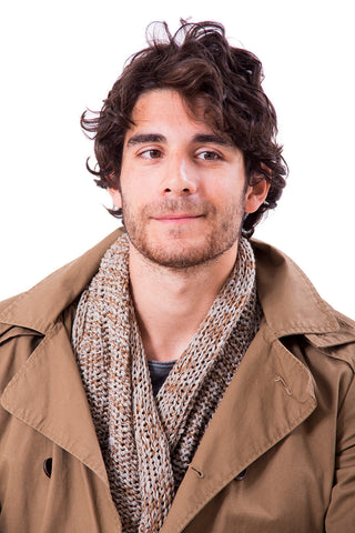 Man Chunky Infinity Scarf - Gray & Brown