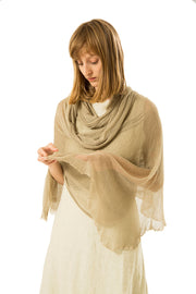 Big Bamboo Air Scarf - Golden camel , Linen