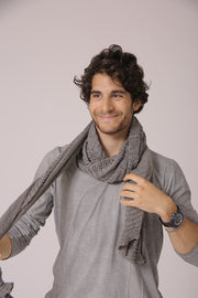 Men Soy Big Chunky Scarf - Grey