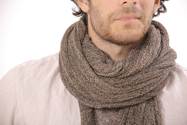 Man Big Soy Air Scarf - Brown & Gray