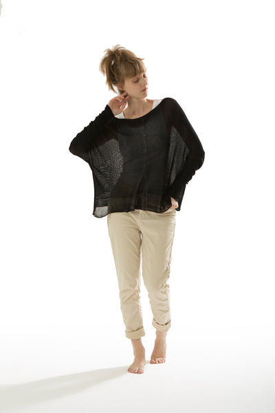 Black Oversized sheer Bamboo shirt