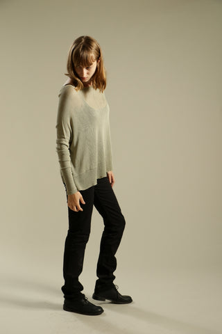 Sage boat neck Oversize Bamboo knitted shirt with Long Sleeves