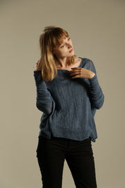 Long sleeve Boat neck knitted shirt with oversized fit - Peacock Blue
