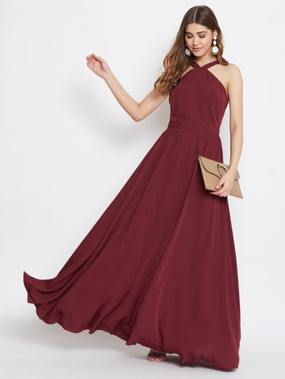 Berrylush Maroon Halter Neck Flared Maxi Dress