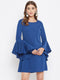 Berrylush Women Blue Solid Flared Sleeves A Line Dress