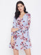 Berrylush Blue floral A Line Wrap Dress