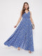Berrylush Floral Blue Printed V Neck Maxi Dress