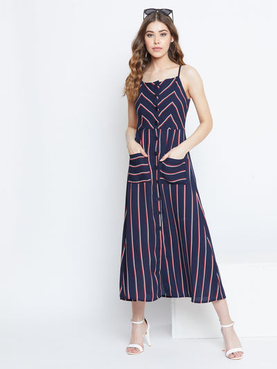 Berrylush Women Navy Blue & Red Striped Fit and Flare Dress