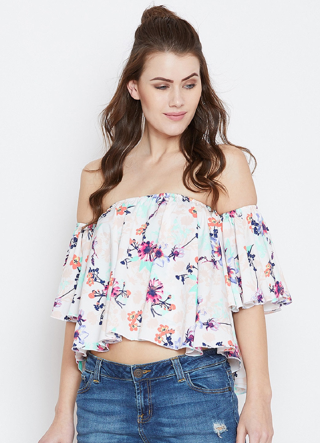 White Printed Bardot Top