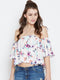 Berrylush Women White Printed Bardot Top