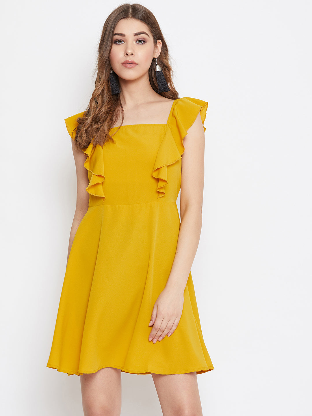 Berrylush Women Yellow Ruffle Detailed Mini Dress