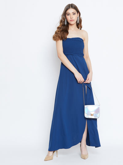 Berrylush Women Blue Front Slit Smocked Maxi Dress