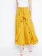 Yellow Solid Ruffled Flared Maxi Skirt with Attached Trousers