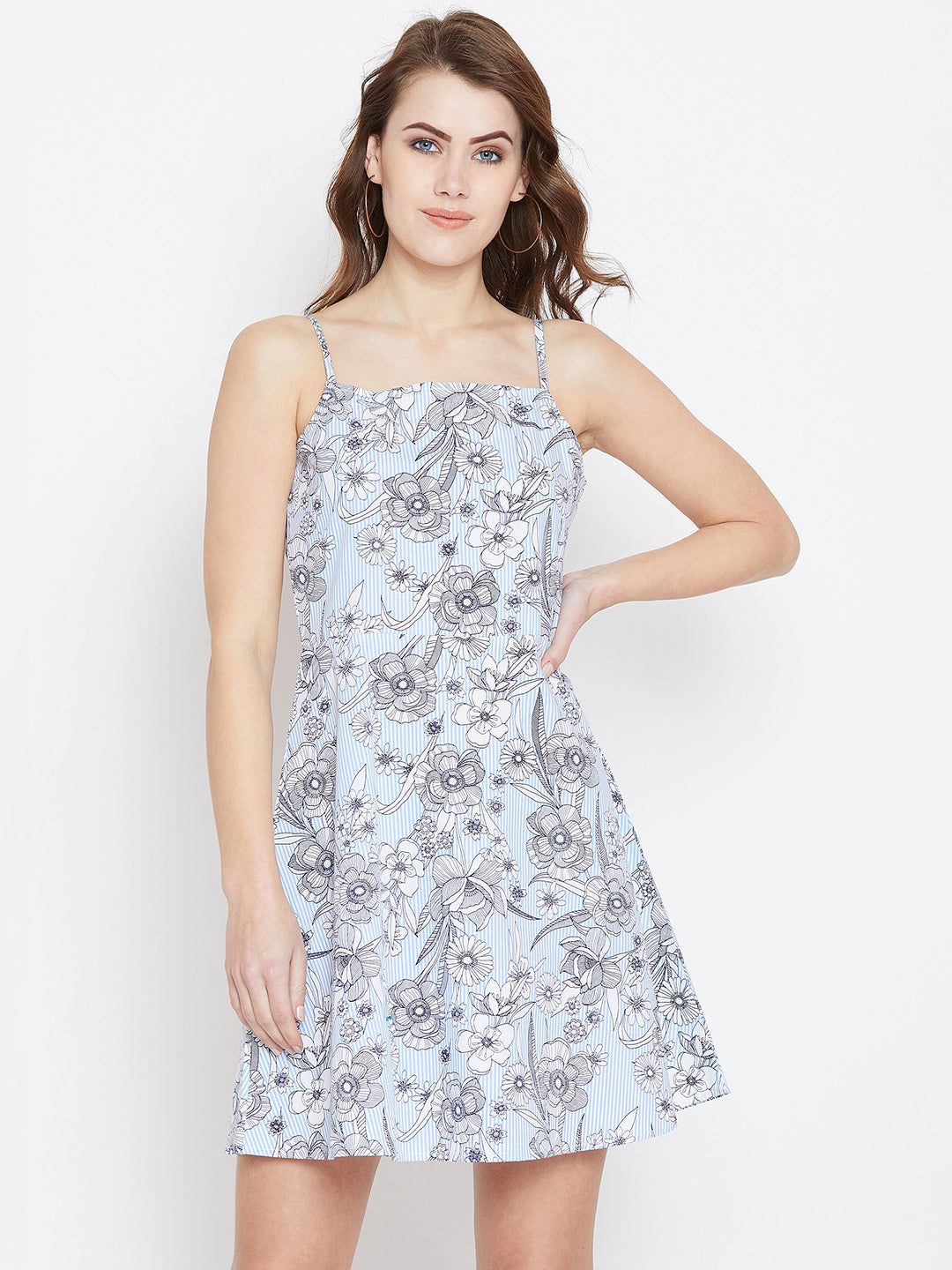 Blue Printed Fit and Flare Dress