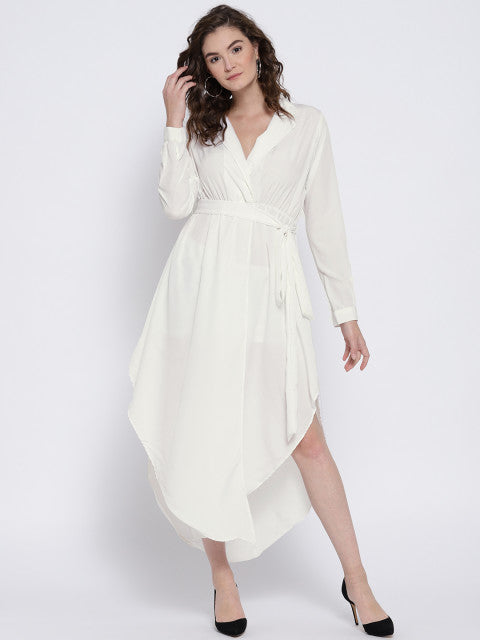 Berrylush Women White Solid Wrap Dress