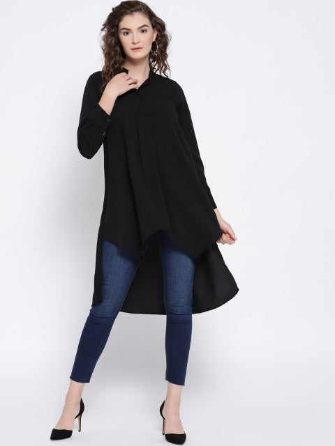 Berrylush Women Black Solid High-Low Top