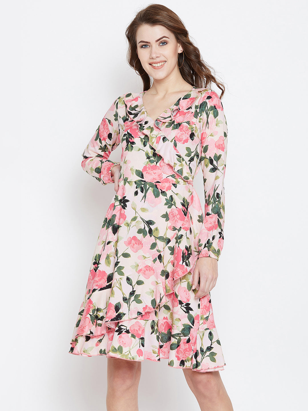 Pink Printed Fit and Flare Dress - Berrylush