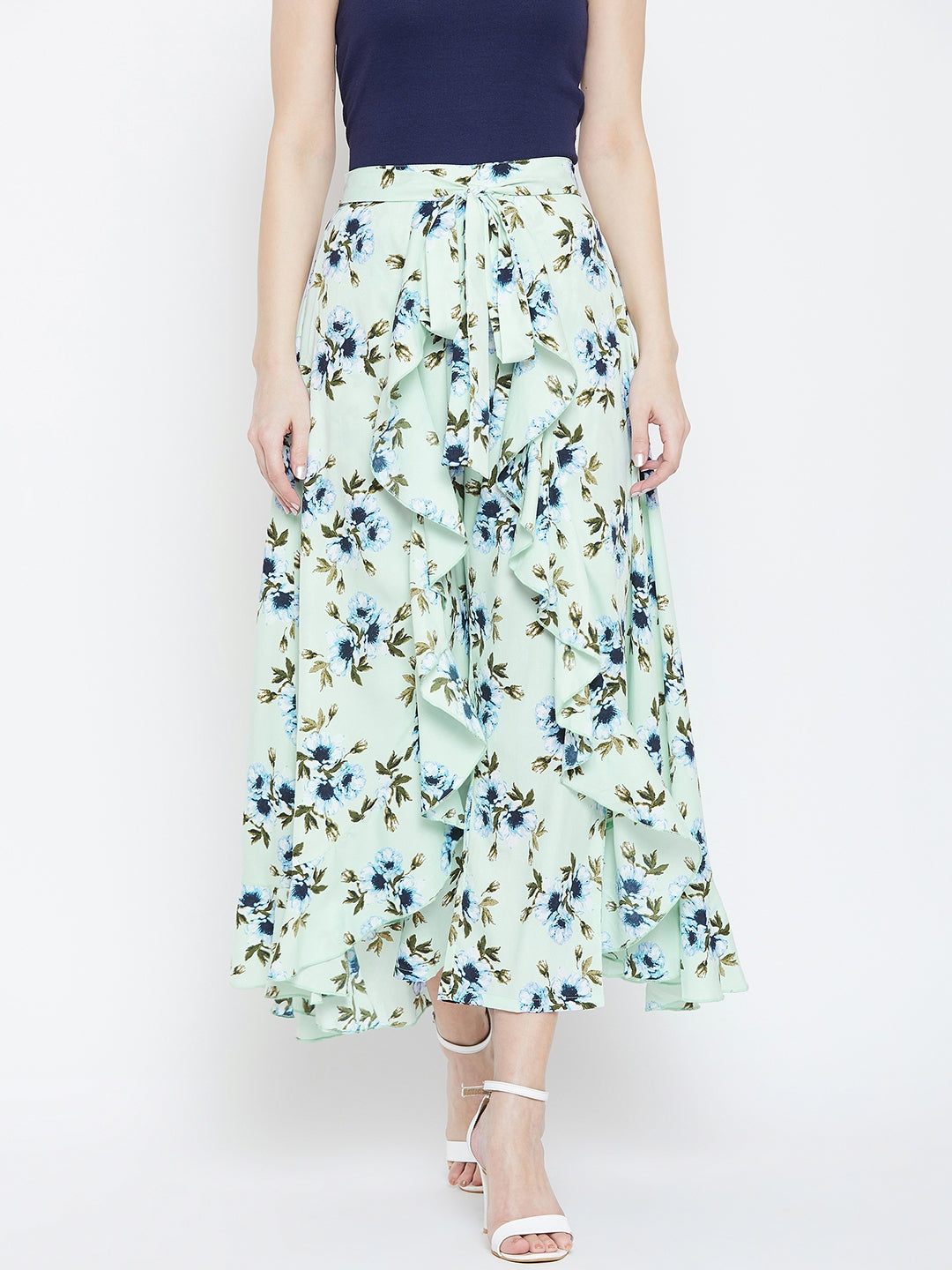 Green floral print skirt attached with pant