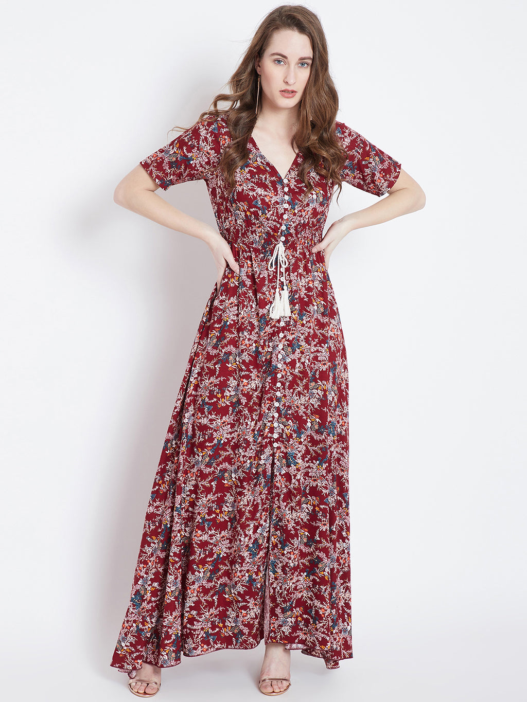 Berrylush Women Maroon & White Printed Maxi Dress