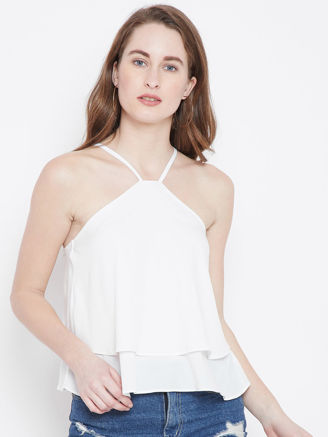 White Solid Tiered Top