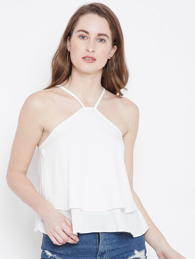White Solid Tiered Top - Berrylush