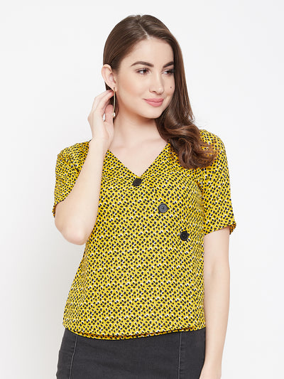 Berrylush Women Yellow Printed Top