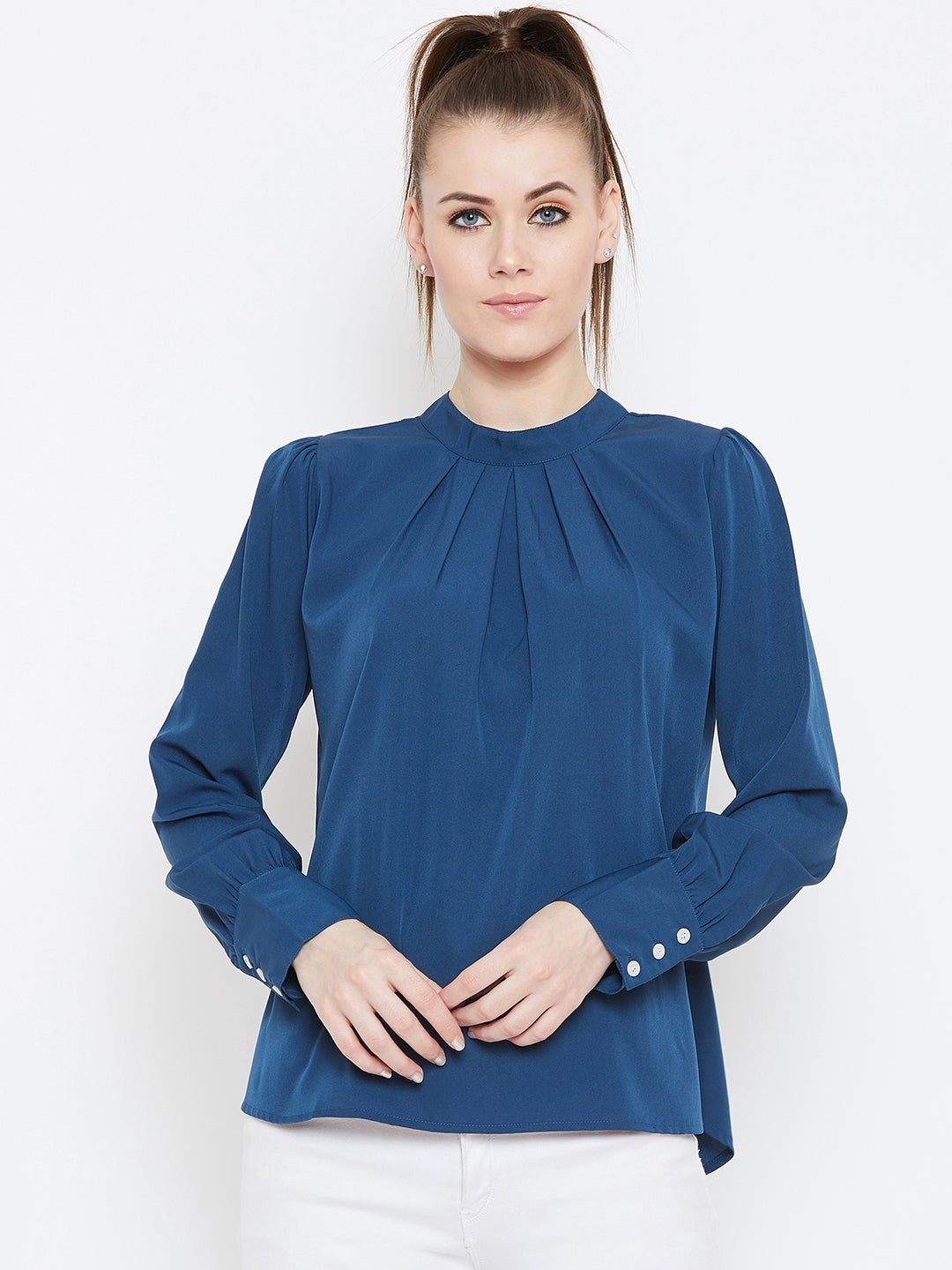 Berrylush Blue Gathered Neck Stand Collar Top for Women