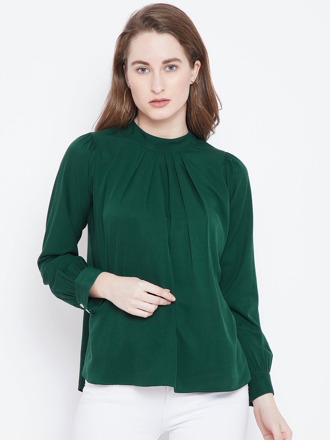 Green Solid Pleated Top