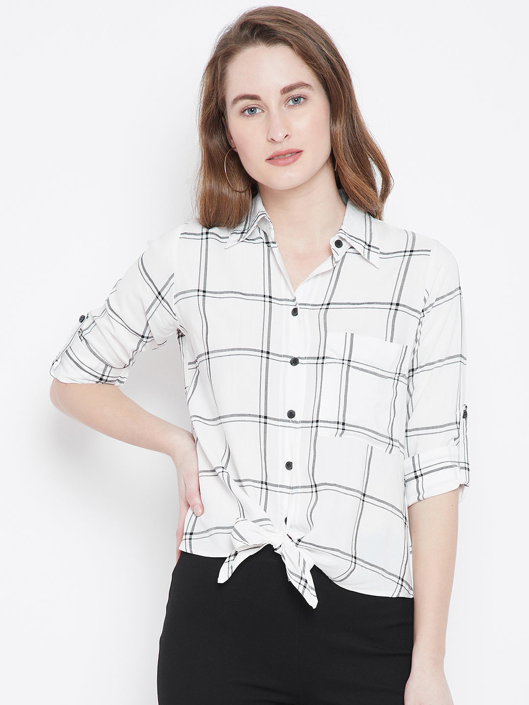 Berrylush Women White & Black Checked Shirt Style Top