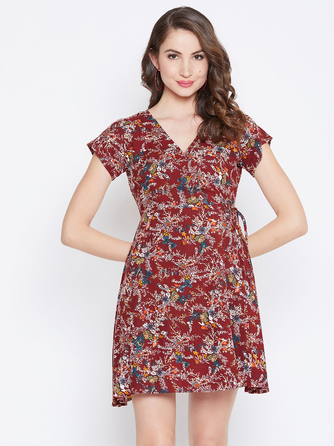 Maroon Floral Print Wrap Dress