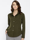 Olive Green Regular Fit Solid Casual Shirt - Berrylush
