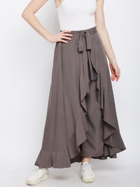 Grey Solid Ruffled Wrap Maxi Skirt with Attached Palazzo