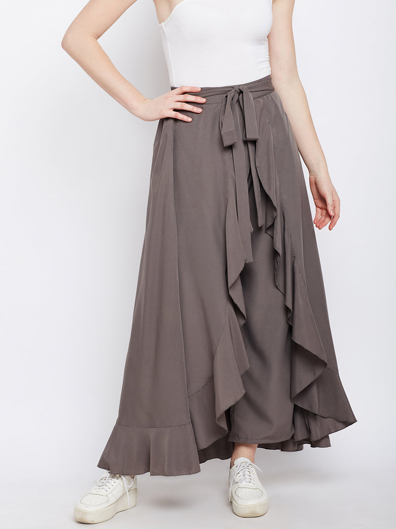 Berrylush Grey Solid Ruffled Flared Maxi Skirt with Attached Trousers