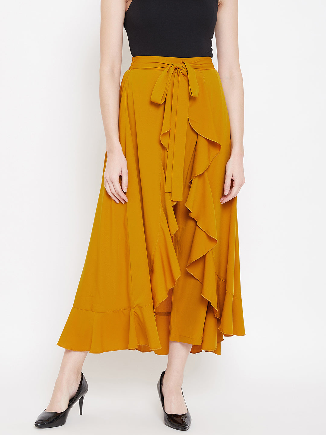 Berrylush Women Mustard Yellow Solid High-Low Maxi Skirt with Attached Trousers
