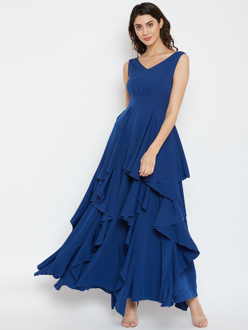 Blue Solid Maxi Dress