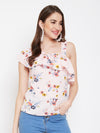Berrylush Women Pink Floral Print One Shoulder With Stylish Strap Top